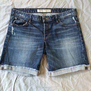 Guess distressed raw hem cuffed denim jean shorts